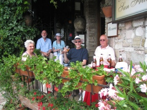 Some of our motley crew enjoying refreshments in Assissi